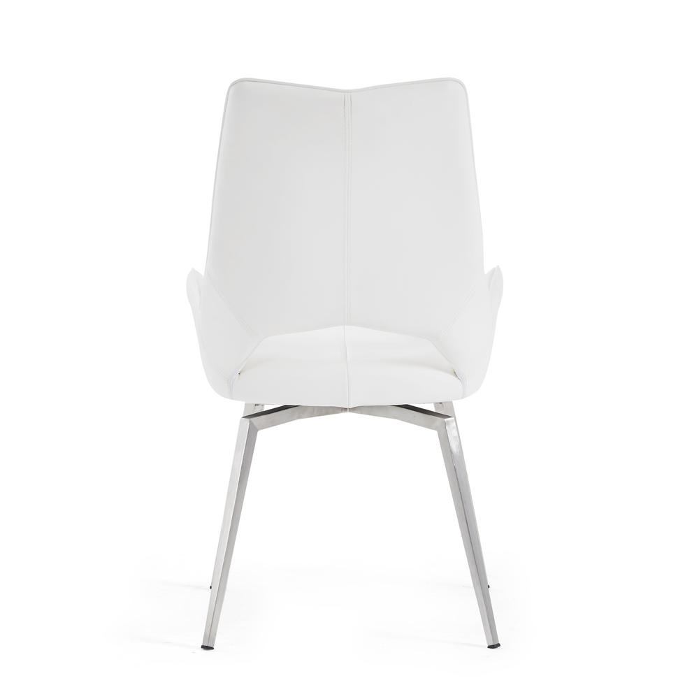 Bucket Seat Swivel Style White Dining Chair 22x25x37 Inch White. Picture 2