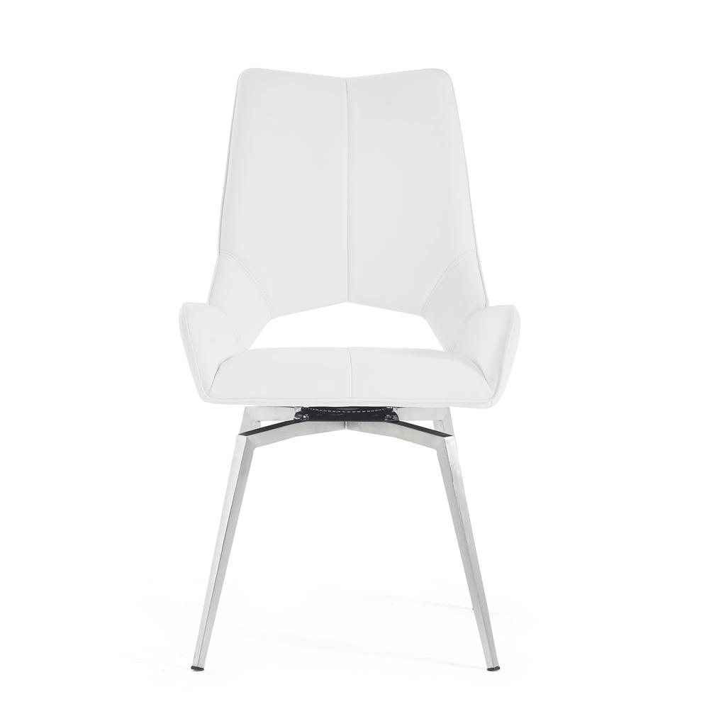 Bucket Seat Swivel Style White Dining Chair 22x25x37 Inch White. Picture 3
