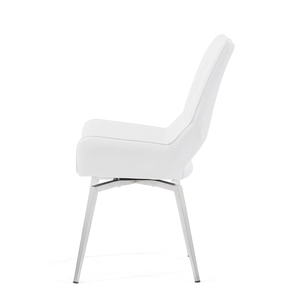 Bucket Seat Swivel Style White Dining Chair 22x25x37 Inch White. Picture 4