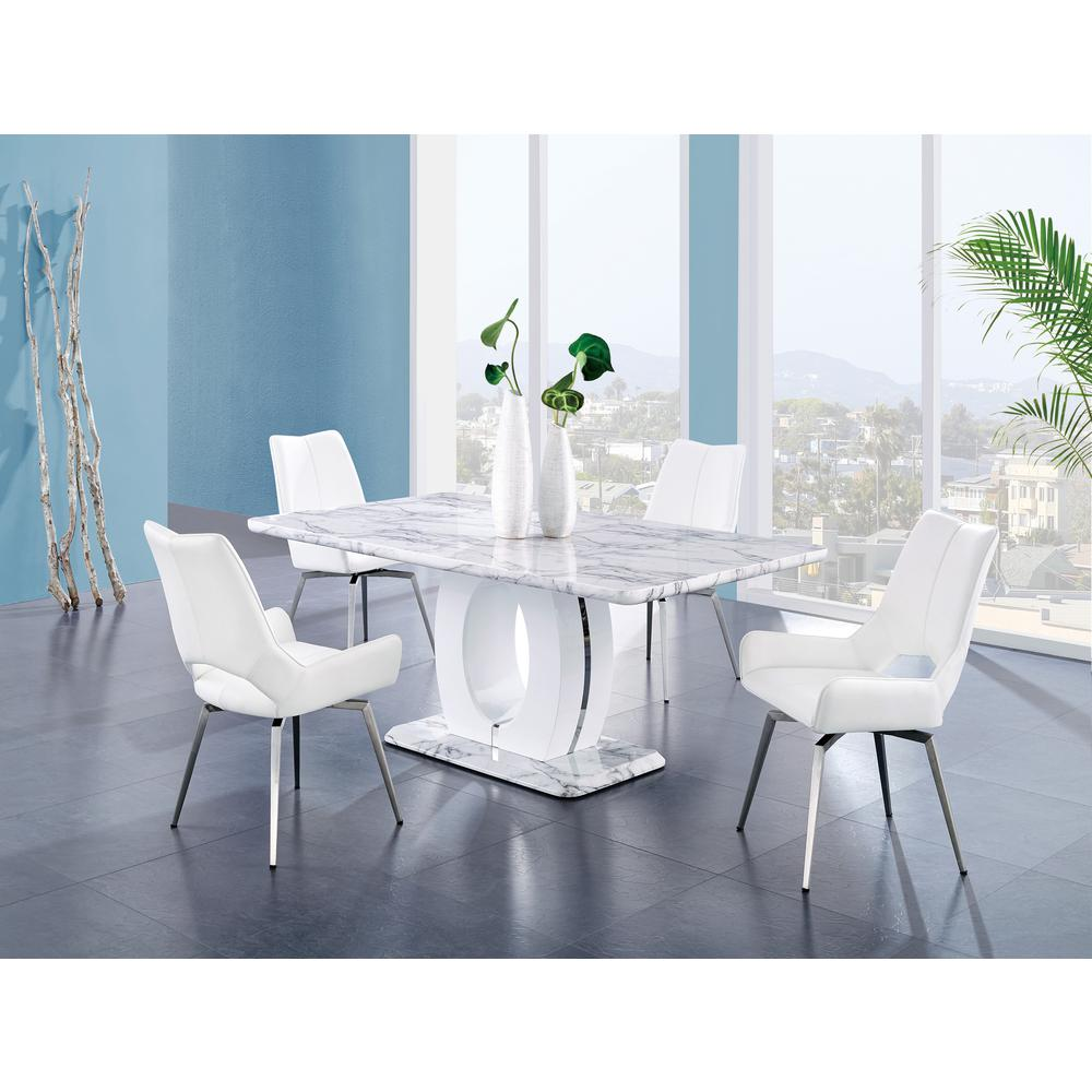 Bucket Seat Swivel Style White Dining Chair 22x25x37 Inch White. Picture 5