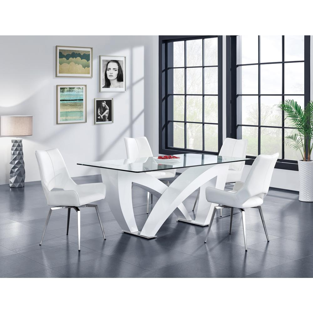 Bucket Seat Swivel Style White Dining Chair 22x25x37 Inch White. Picture 7