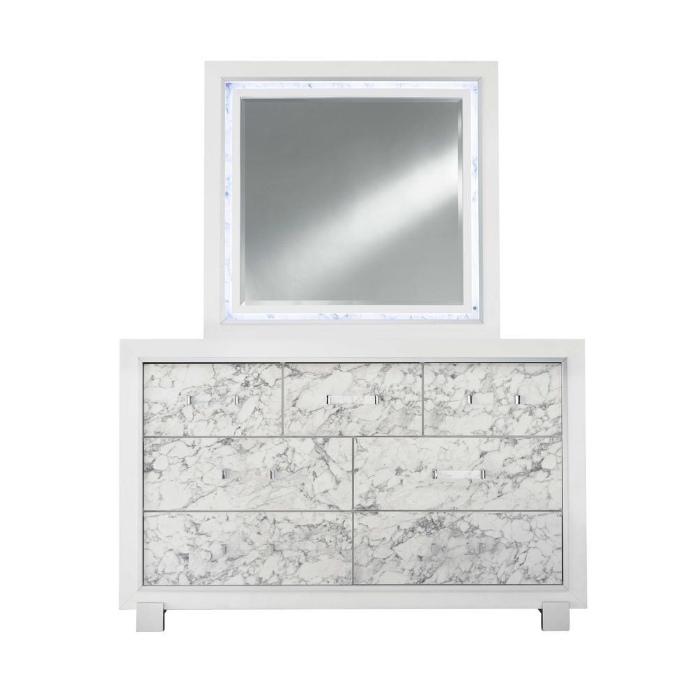 Santorini-Metallic White-Mr, Mirror. Picture 1