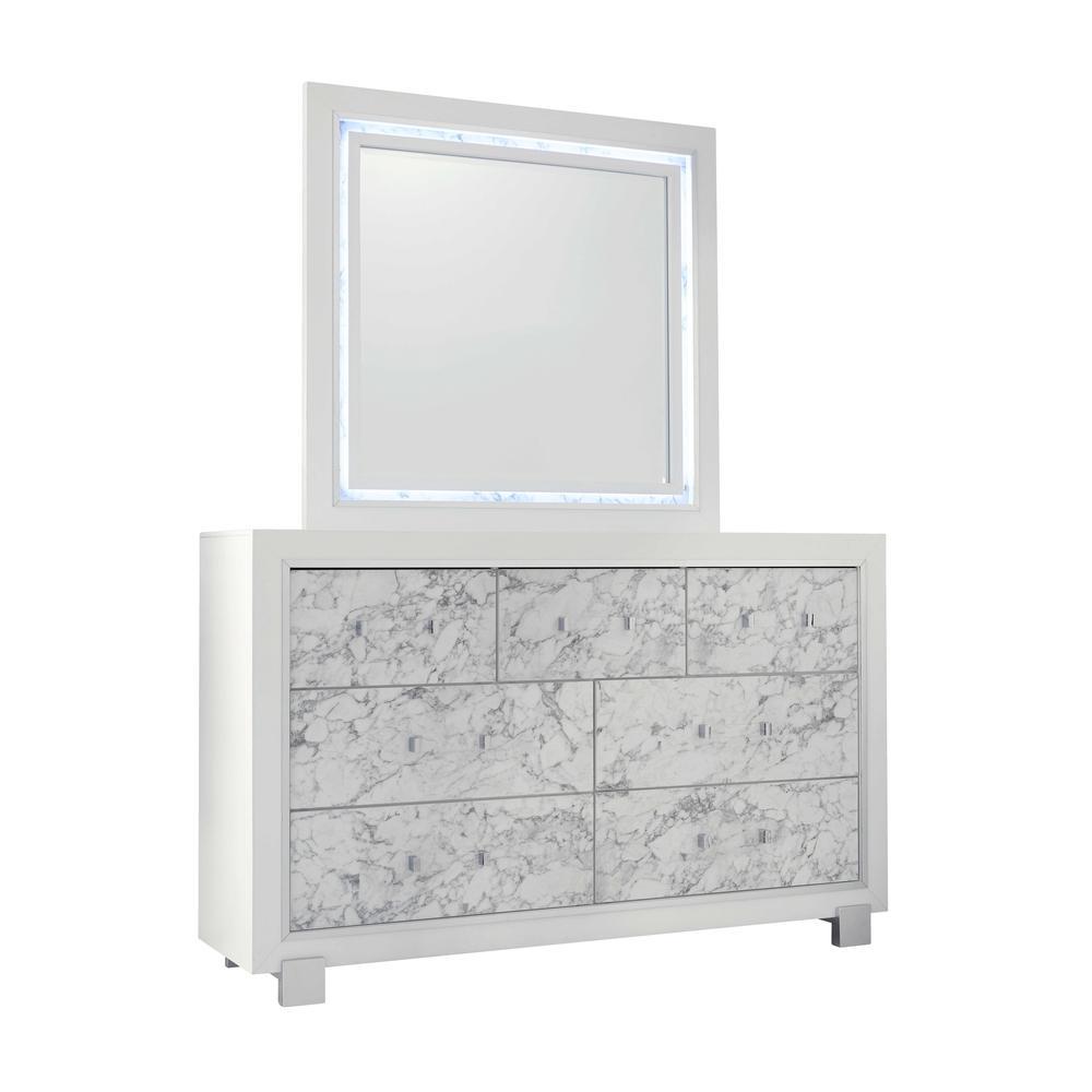 Santorini-Metallic White-Mr, Mirror. Picture 2