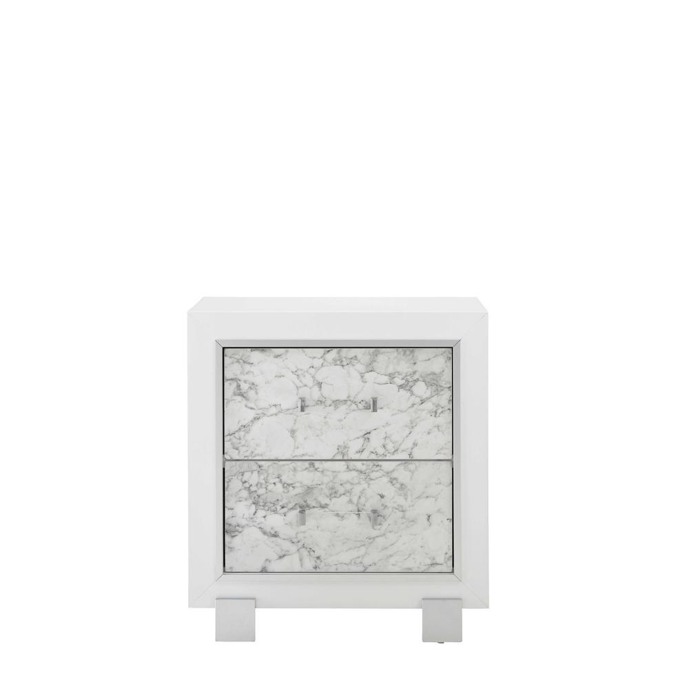 Santorini-Metallic White-Ns, Nightstand. Picture 1
