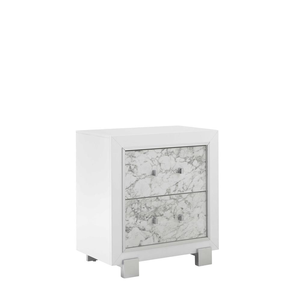 Santorini-Metallic White-Ns, Nightstand. Picture 2