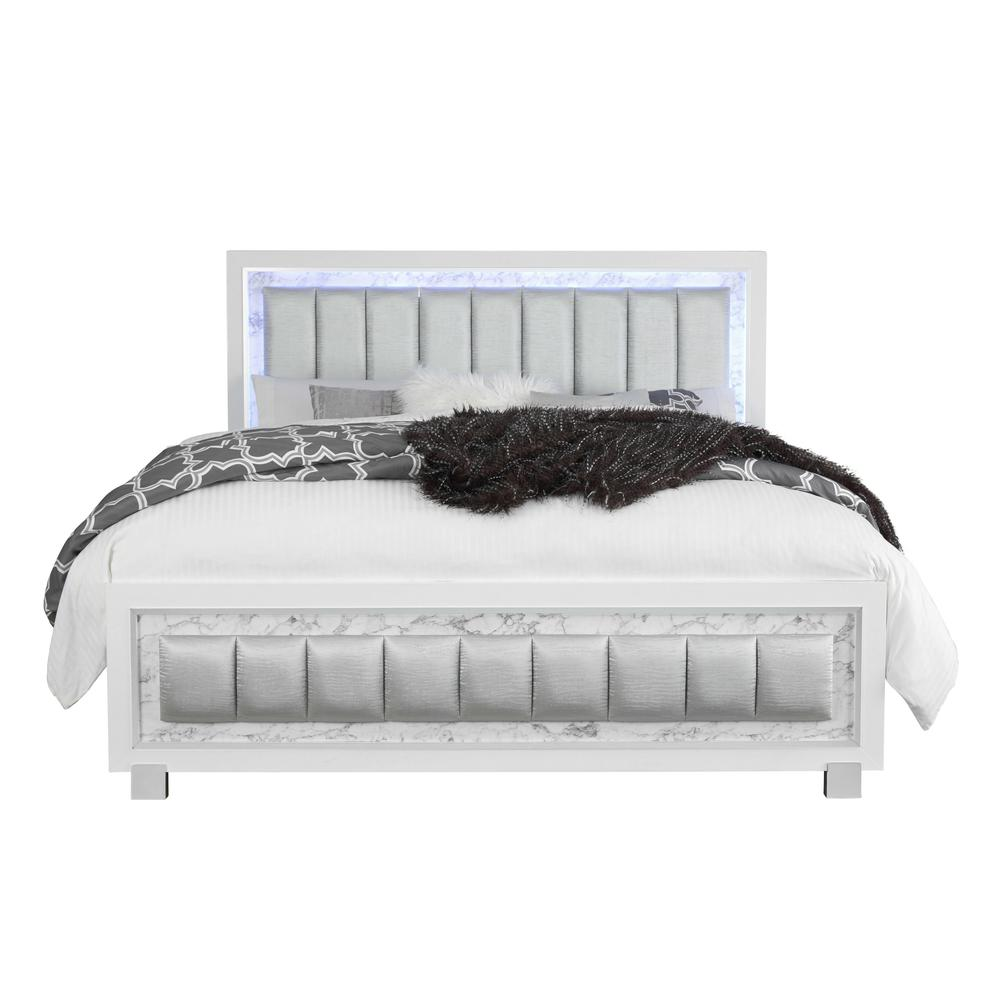 Santorini-Wh-Qb, Queen Bed Metallic White/Marble. Picture 1