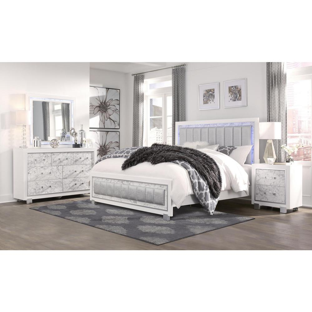 Santorini-Wh-Qb, Queen Bed Metallic White/Marble. Picture 3
