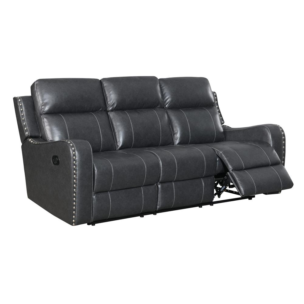 U131-Dtp932-7 Charcoal Gry-Rs, Reclining Sofa Dark Grey. Picture 2