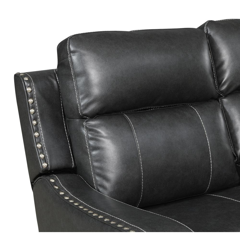 U131-Dtp932-7 Charcoal Gry-Rs, Reclining Sofa Dark Grey. Picture 3