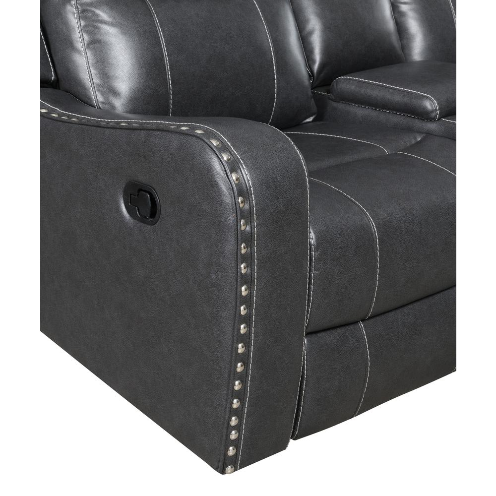 U131-Dtp932-7 Charcoal Gry-Rs, Reclining Sofa Dark Grey. Picture 4