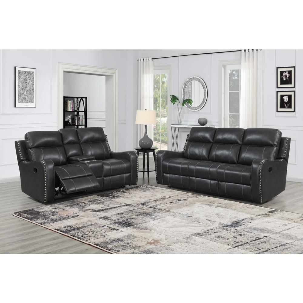 U131-Dtp932-7 Charcoal Gry-Rs, Reclining Sofa Dark Grey. Picture 5