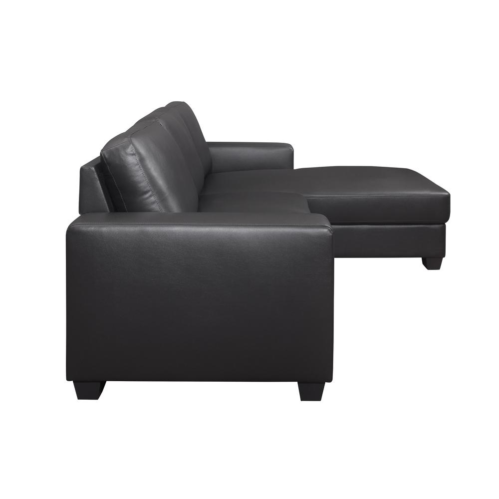 U821-Drk Gry Pvc Loveseat , Dark Grey Loveseat & Chaise. Picture 3