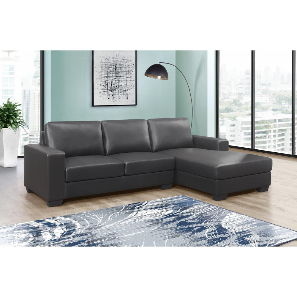 U821-Drk Gry Pvc Loveseat , Dark Grey Loveseat & Chaise. Picture 10