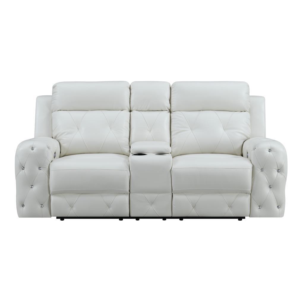 Power Console Reclining Loveseat Blanche White. Picture 1