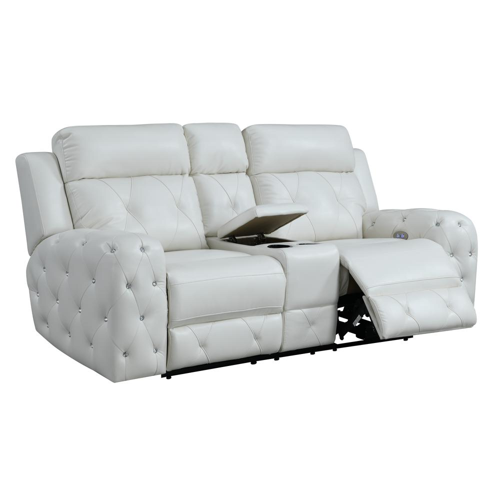 Power Console Reclining Loveseat Blanche White. Picture 2