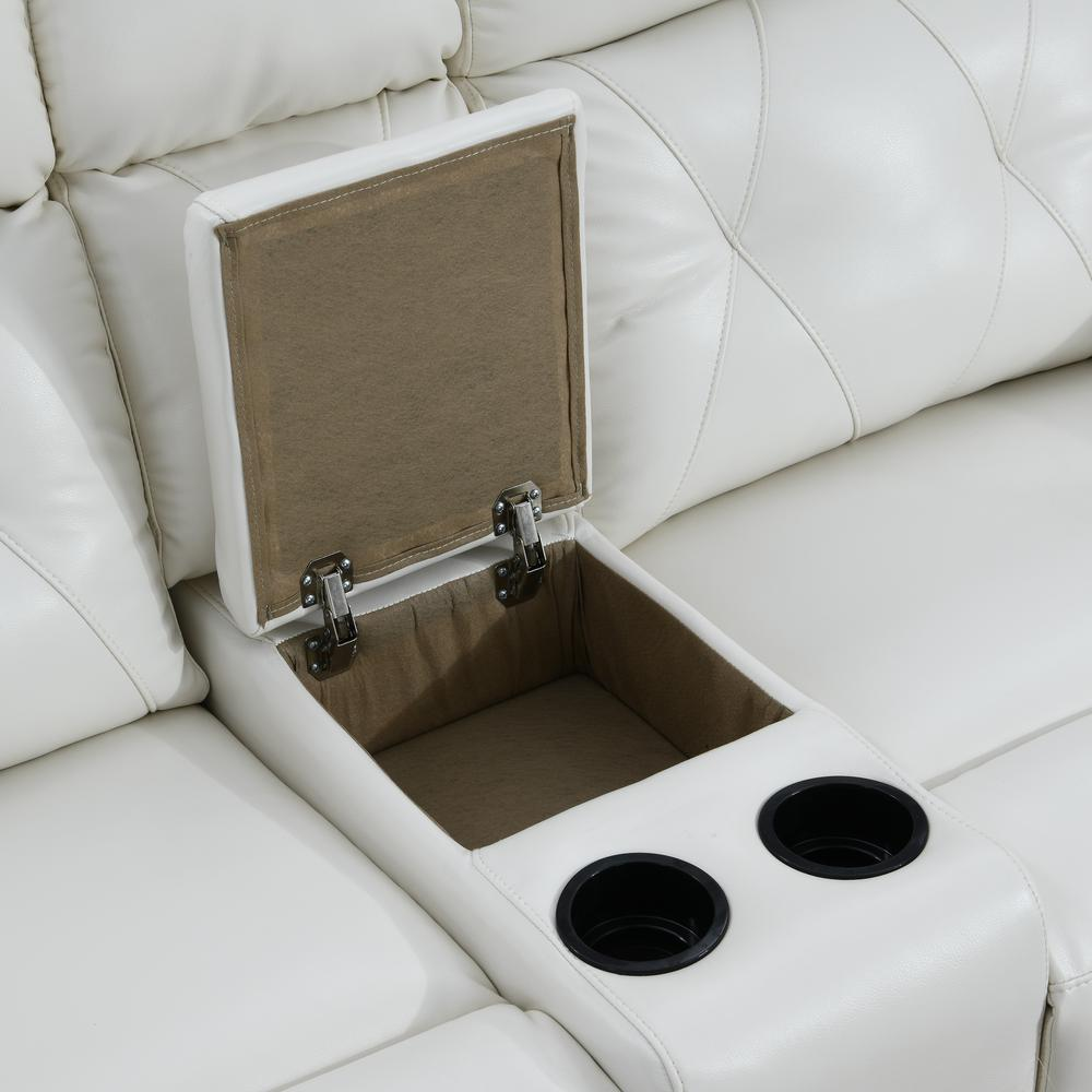 Power Console Reclining Loveseat Blanche White. Picture 3