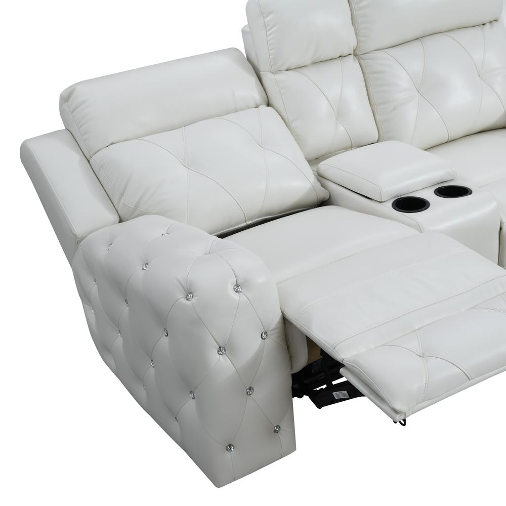 Power Console Reclining Loveseat Blanche White. Picture 4