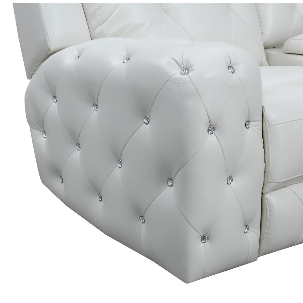 Power Console Reclining Loveseat Blanche White. Picture 5