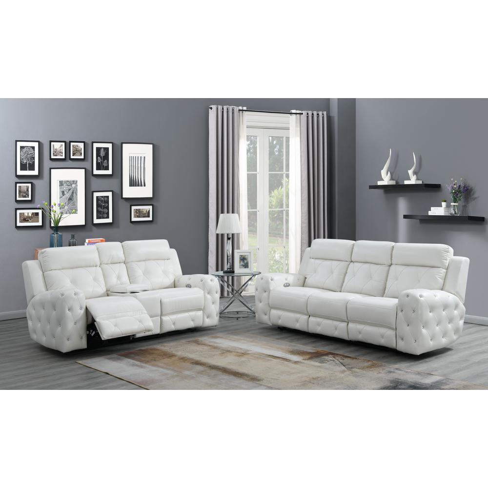 Power Console Reclining Loveseat Blanche White. Picture 7