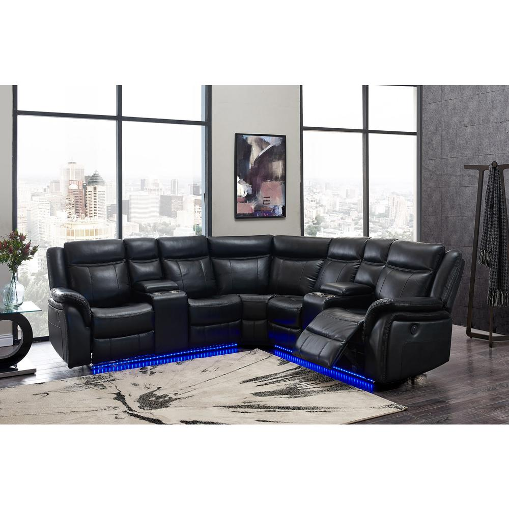 Um02-Bl-Sectional, Sectional Blanche Black. Picture 1