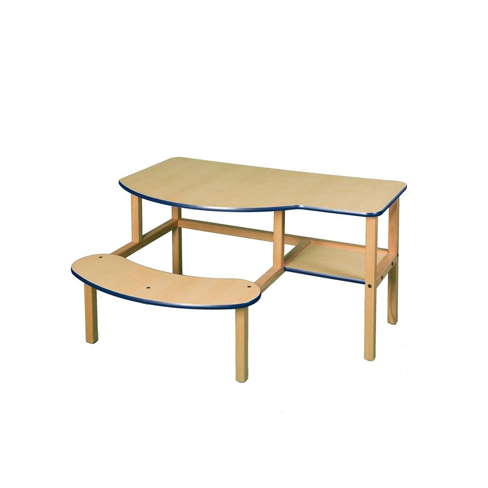 Grade School Buddy Computer Desk, Maple/Blue. Picture 1