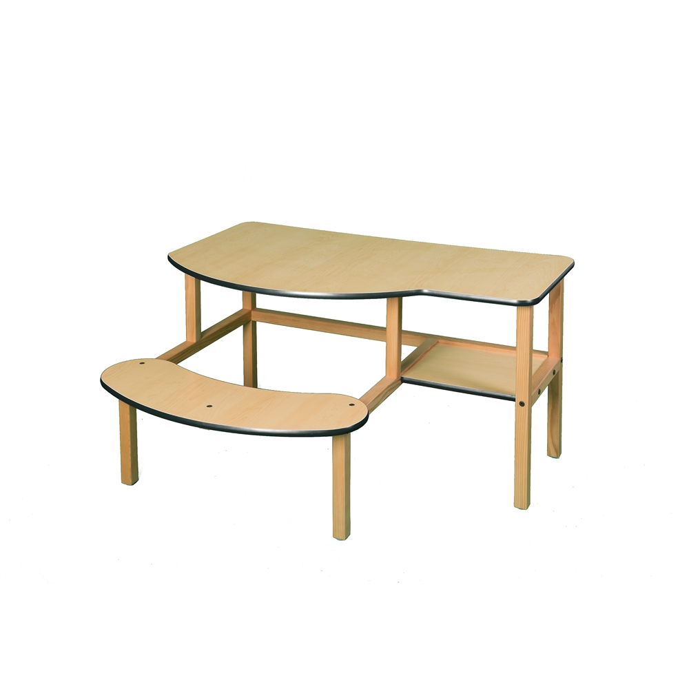 Grade School Buddy Computer Desk, Maple/Green. Picture 1