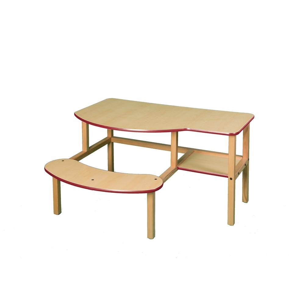 Grade School Buddy Computer Desk, Maple/Red. Picture 1