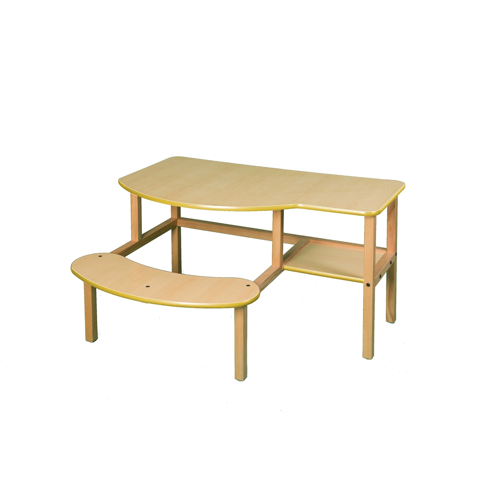 Grade School Buddy Computer Desk, Maple/Yellow. Picture 1