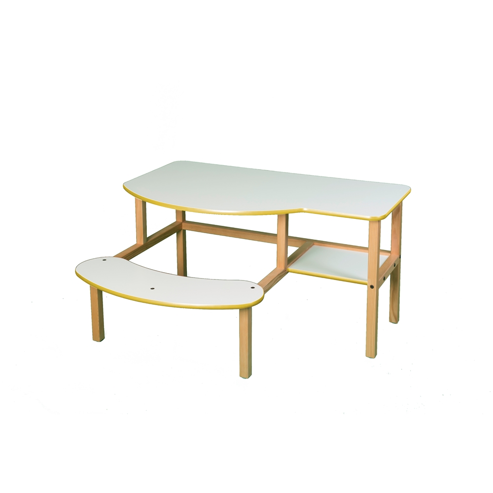 Grade School Buddy Computer Desk, White/Yellow. Picture 1