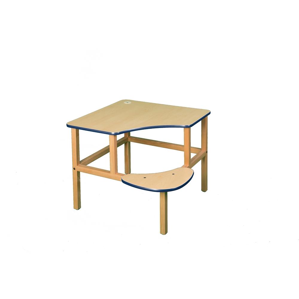 Corner Desk, Maple/Blue. Picture 1