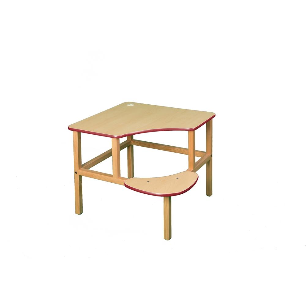 Corner Desk, Maple/Red. Picture 1