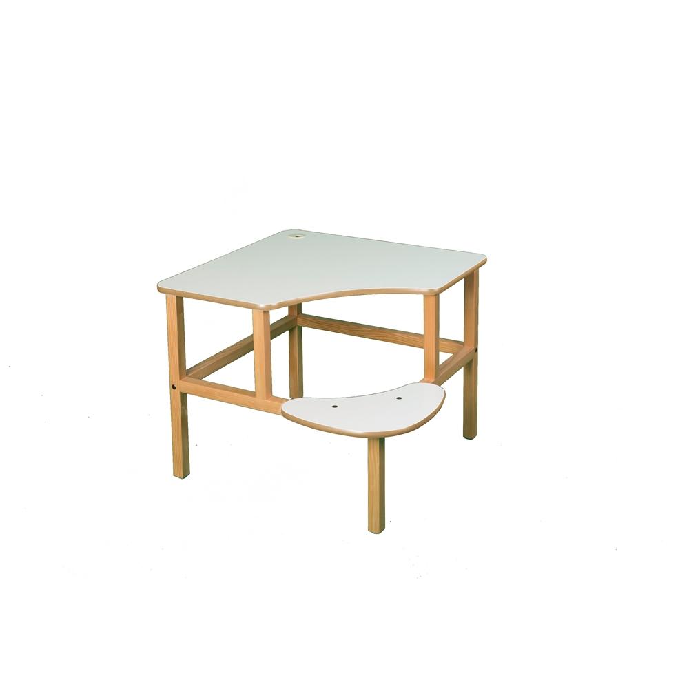 Corner Desk, White/Tan. Picture 1