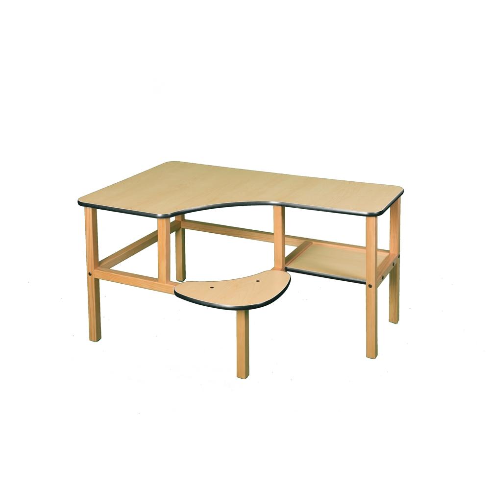 Grade School Computer Desk, Maple/Green. Picture 1