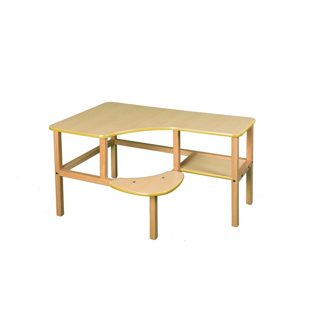 Grade School Computer Desk, Maple/Yellow. Picture 1