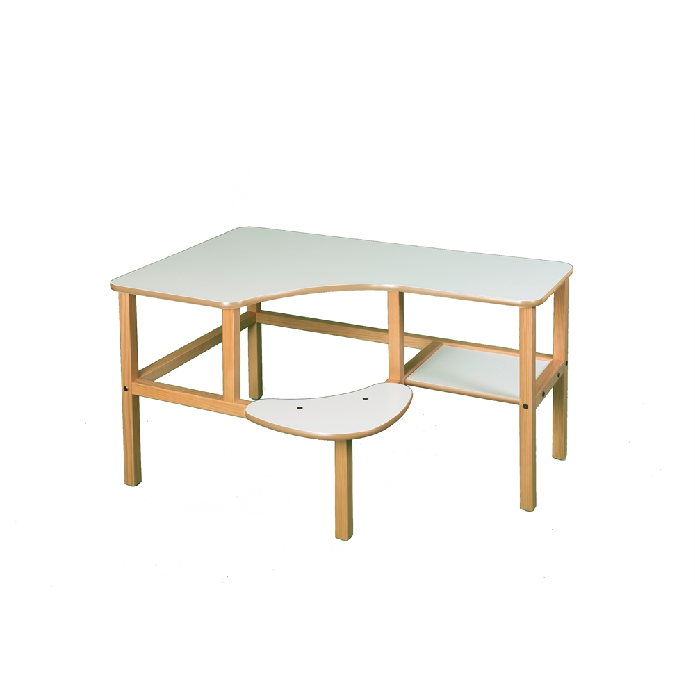 Grade School Computer Desk, White/Tan. Picture 1