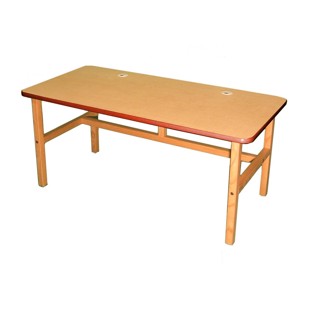 Side By Side Desk, Maple/Red. Picture 1