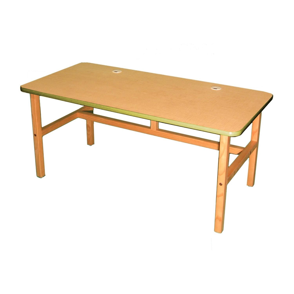 Side By Side Desk, Maple/Yellow. Picture 1
