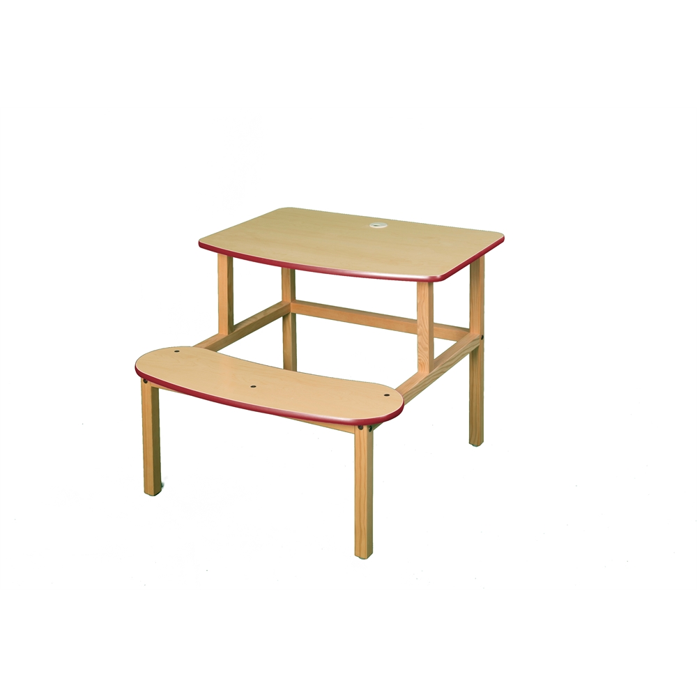 Student Desk, Maple/Red. Picture 1