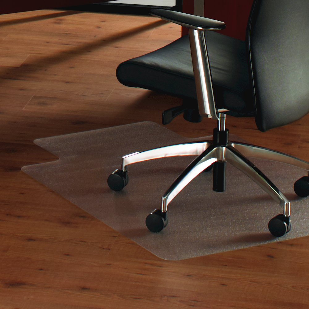 "Cleartex UnoMat, Anti-Slip Chair Mat, For Polished Hard Floors / Very Low Pile Carpets / Carpet Tiles, Rectangular with Lip, Size 48"" x 60"". Picture 2"