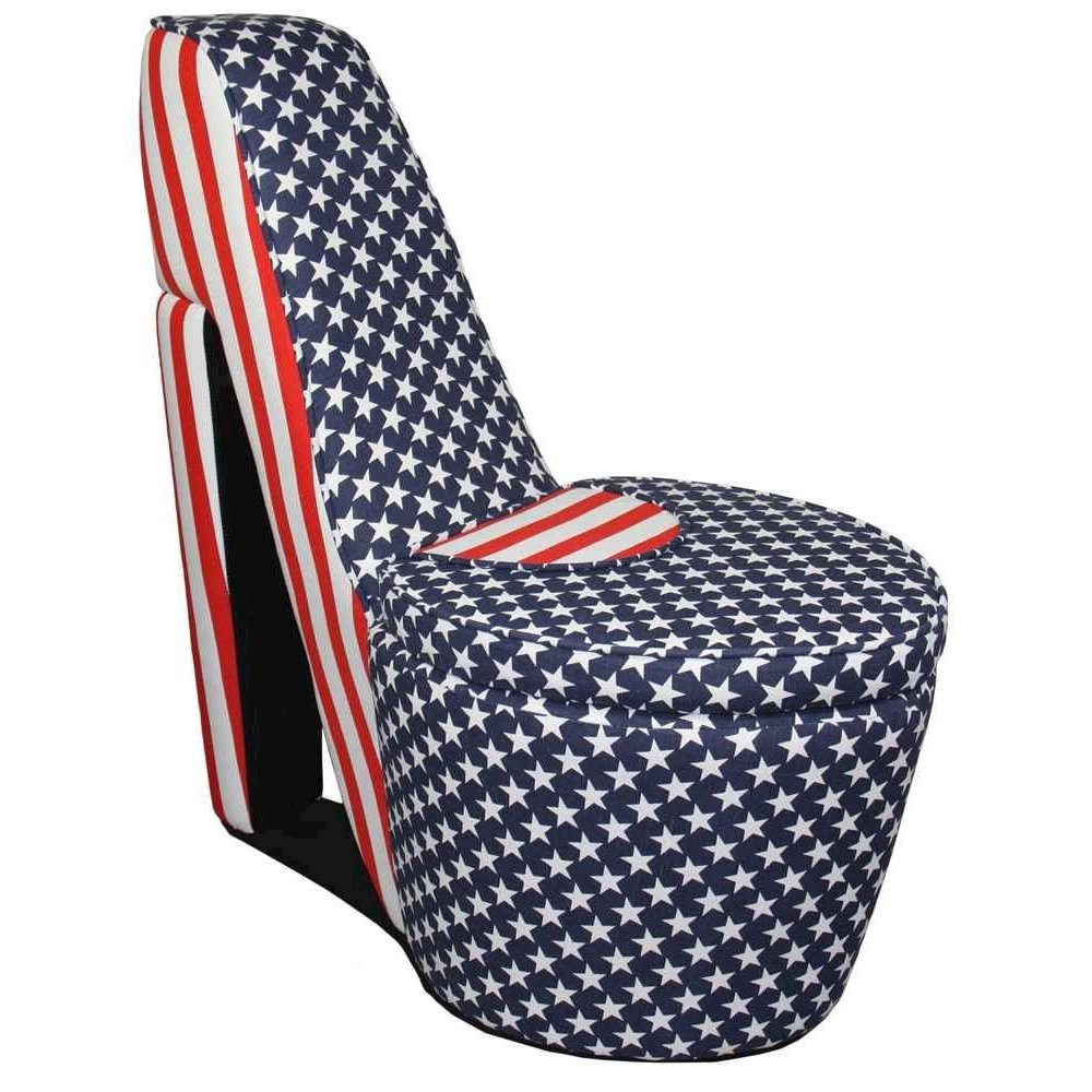 Patriotic Blue, Red White High Heels Storage Chair. Picture 1