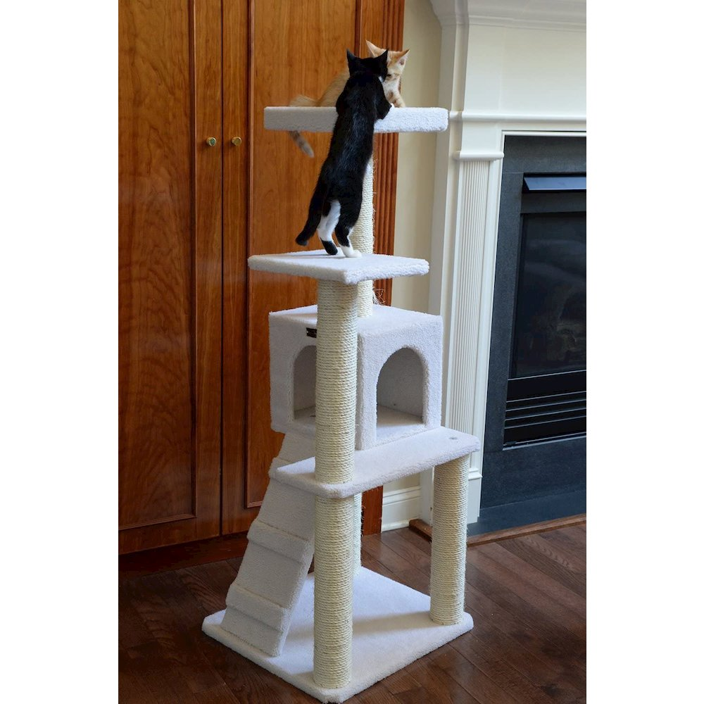 Armarkat Model B5301 53-Inch Classic Cat Tree in Ivory with Ramp, Perch, Condo, Jackson Galaxy Approved. Picture 4