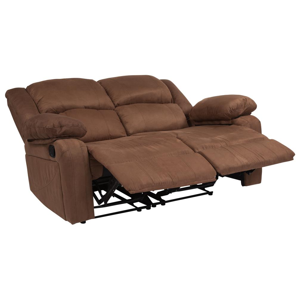 Chocolate Brown Microfiber Loveseat With Two Built In