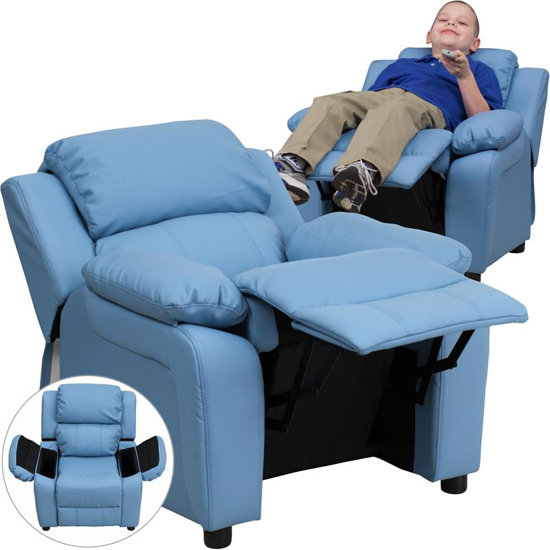 Deluxe Padded Contemporary Light Blue Vinyl Kids Recliner with Storage Arms