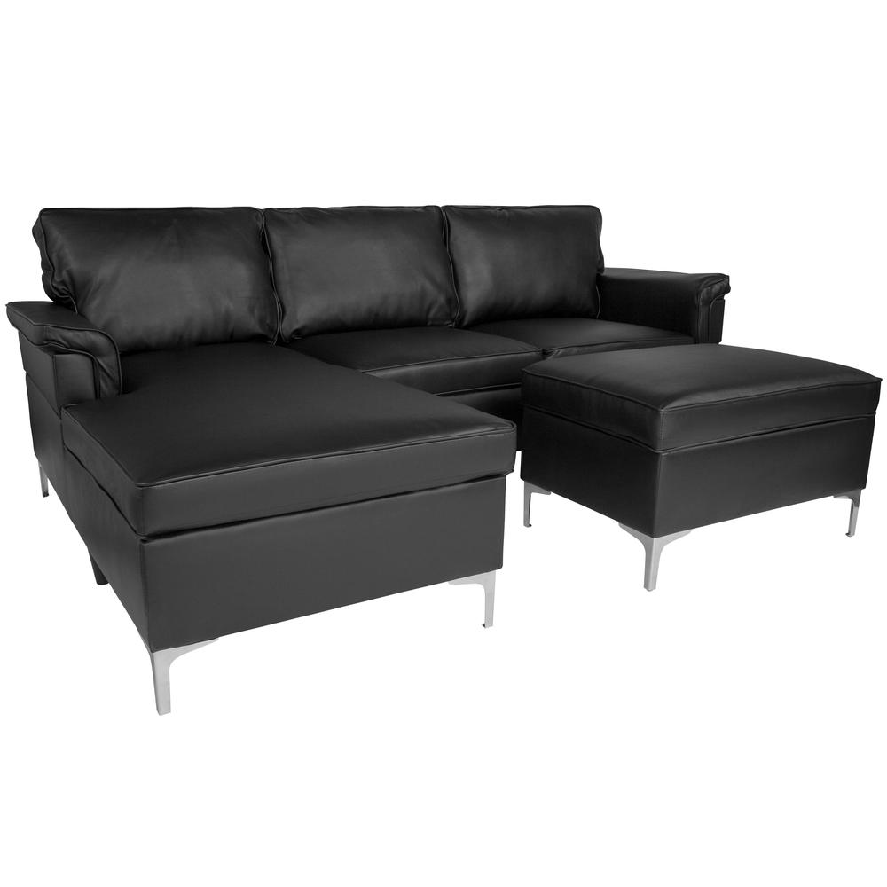 Upholstered Plush Pillow Back Sectional With Left Side