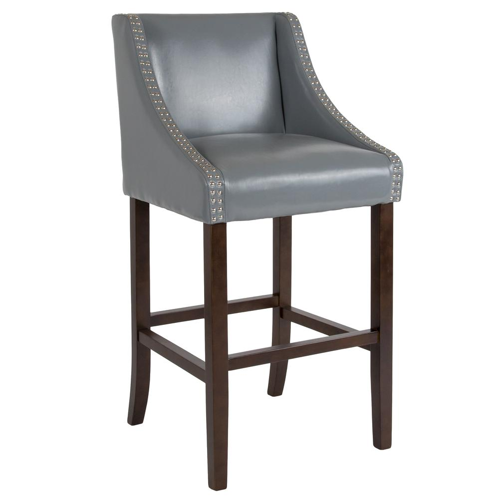 """30"""" High Transitional Walnut Barstool with Accent Nail Trim in Light Gray LeatherSoft"""