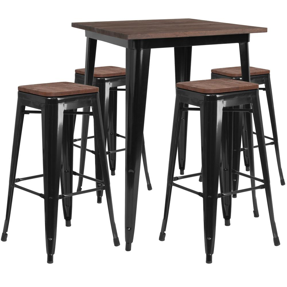 """31.5"""" Square Black Metal Bar Table Set with Wood Top and 4 Backless Stools. Picture 1"""