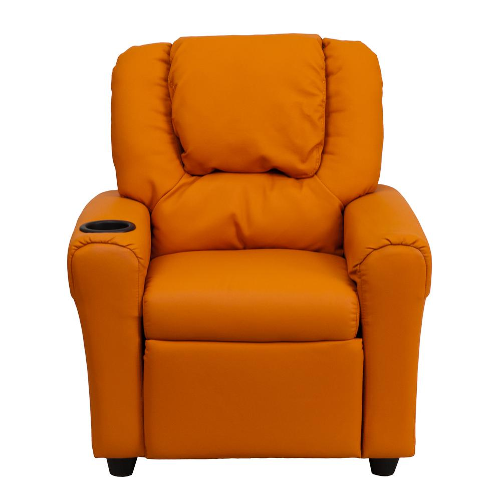 Contemporary Orange Vinyl Kids Recliner with Cup Holder and Headrest