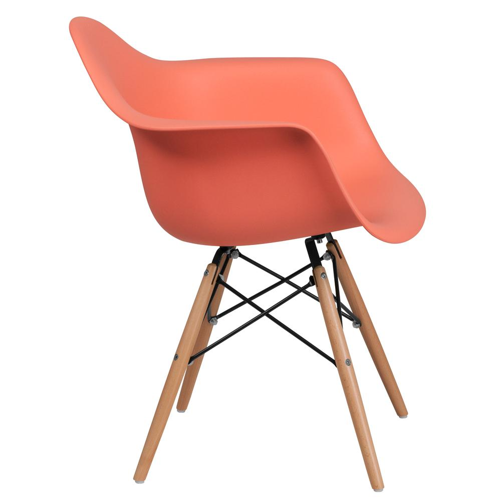 Peach Plastic Chair With Arms And Wooden Legs