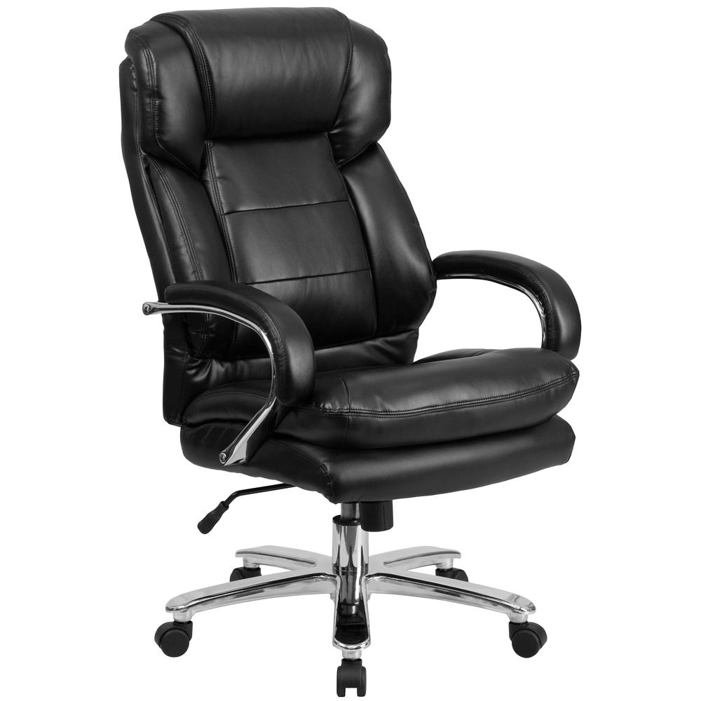 24/7 Intensive Use Big & Tall 500 lb. Rated Black LeatherSoft Swivel Ergonomic Office Chair with Loop Arms. Picture 1