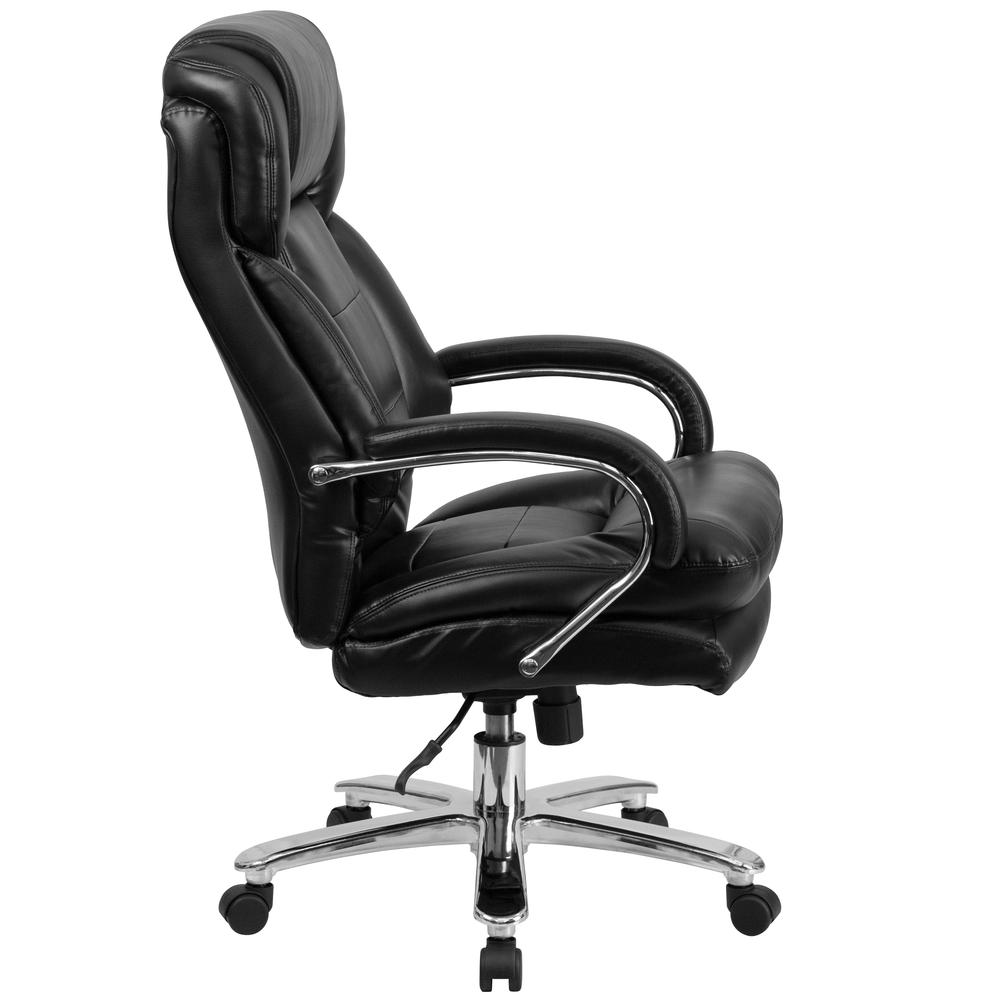 24/7 Intensive Use Big & Tall 500 lb. Rated Black LeatherSoft Swivel Ergonomic Office Chair with Loop Arms. Picture 2